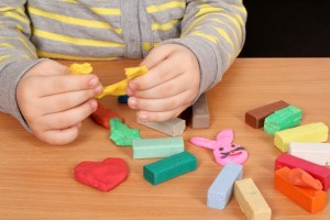 child play with plasticine